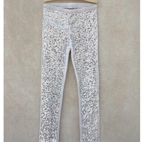 d19686537f Joy folie Bottoms | Silver Sequin Pants | Poshmark